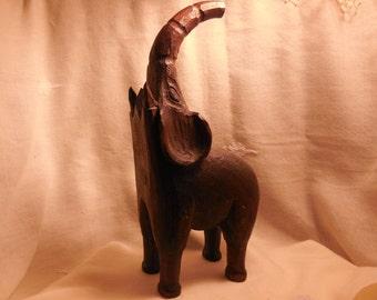 ELEPHANT, HAND CARVED Wooden Elephant, Primitive, Wild African Animals, Unusual Vintage Decor