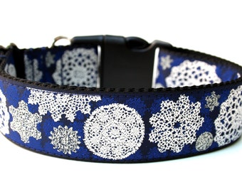"Christmas Dog Collar 1.5"" Snowflake Dog Collar"