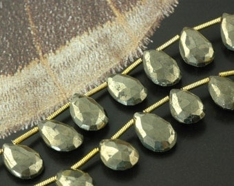 Golden Sunshine : Pyrite faceted briolette beads / 8x12mm / Silk Road, Natural, Yoga, Zen Jewelry Making, Craft Supplies