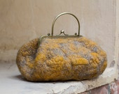 Felted hand bag with metal handle (Handmade to order)