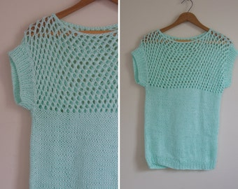 adorable MINT green short sleeve KNIT open weave sweater 1980s 70s