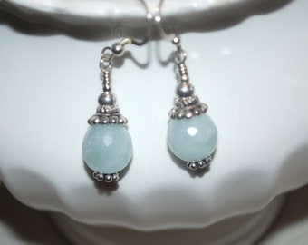Blue Amazonite and Sterling Silver Earrings