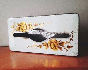 Vintage gold rose tin tissue box