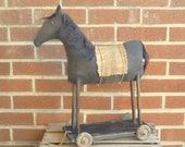 Primitive Folk Art Horse Pull Toy ~ Large Horse pulltoy