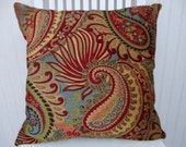 Red Turqouise Pillow Cover--18x18 or 20x20 or 22x22 Throw Pillow-- Paisley Flowers, Red, Turquoise, Gold