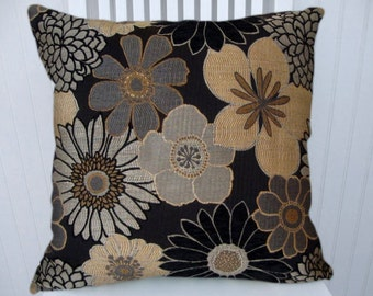 Grey Gold Black Decorative Pillow Cover, Floral Throw Pillow Cover, Accent Pillow Cover