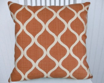 Orange Chenille Pillow Cover---18 x 18, 20 x 20, 22 x 22    Embroidered Throw Pillow Cover, Lumbar Pillow, Accent Pillow  Cover