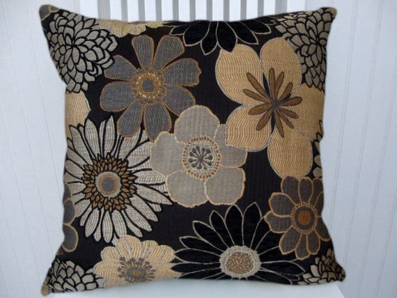Black Decorative Pillow Cover-- Black, Gold, Grey Floral Throw Pillow--18x18 or 20x20 or 22x22 Accent Pillow Cover