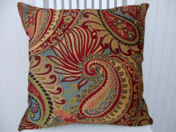 Red Turqouise Pillow Cover18x18 or 20x20 or 22x22 Throw