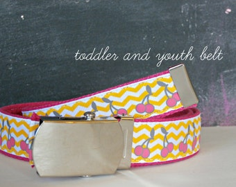 Chevron Ribbon Belt with Military Buckle, Yellow Chevron and Pink Cherries, Back to School Clothing, Toddler and Youth Sizes Available