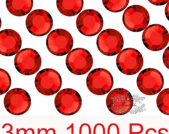 1000 PCS X 3mm SS12 Round Red Light Siam Rhinestone Bling 14 Faceted Cut Crystal Gems Flatback Deco Nail Art Craft Embellishment (GM.R3R)