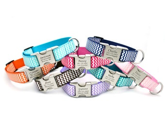 Chevron Stripe Personalized Dog Collar with Laser Engraved Buckle