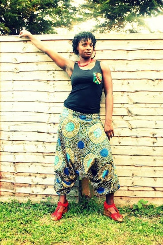 African Print Harems Jumpsuit Baggy Trousers