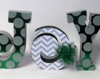 FREE SHIPPING! JOY wooden letter set Christmas Holiday Decoration green silver