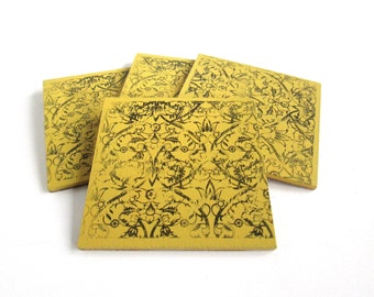 Bohemian Style Yellow Drink / Beverage Coasters with Lace Print -Boho Coffee Table Decor - Bright Home Accents - Hostess Gift - Coaster Set