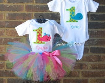 Boy/Girl Twin Whale Themed Birthday Outfits-Twin Ocean Party Outfit-Twin Under the Sea Party Outfit-Twin First Birthday Outfit