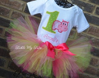 Hip Hippo-ray Pink Hippo Birthday Tutu Outfit-Hippo Birthday Tutu Set-Happy Hippo Birthday Tutu Outfit-Hippo Birthday Party Outfit