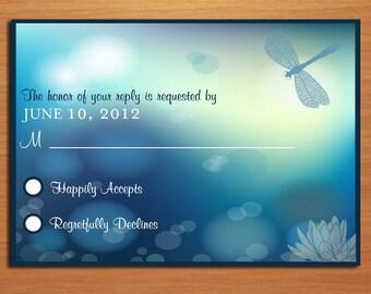 Dragonfly Wedding RSVP Postcard PRINTABLE / DIY