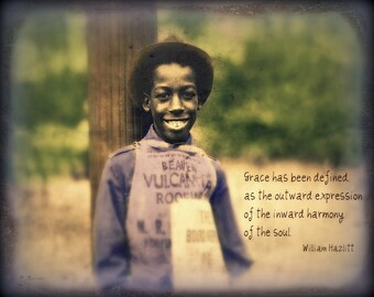 """African American Art, Quote Print, Black History, Inspirational Art, Vintage Photography, Smile, """"Grace & A Beautiful Smile"""""""