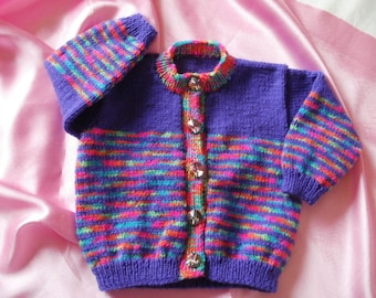 Baby girls brightly coloured striped cardigan to fit 12 - 18 months approx.