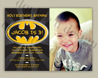 Batman - Superhero - Printable Birthday Party Invitation with Color Options