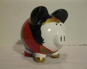 Wonder Woman Piggy Bank, Personalized, Handpainted, Wonderpig Piggy Bank - Inspired by Wonder woman - (Unofficial) -  MADE TO ORDER
