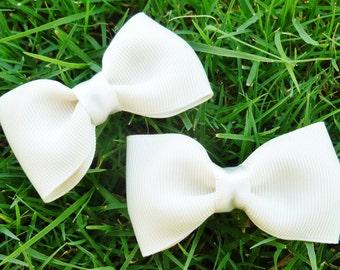 2 ivory flower girl hair bow clips-- tuxedo bows for babies toddler big girl bows--wedding bridal shower gift idea