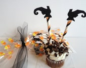 Halloween Cupcake Toppers Witch Legs  Cupcakes Topper Glitter Paper Straws