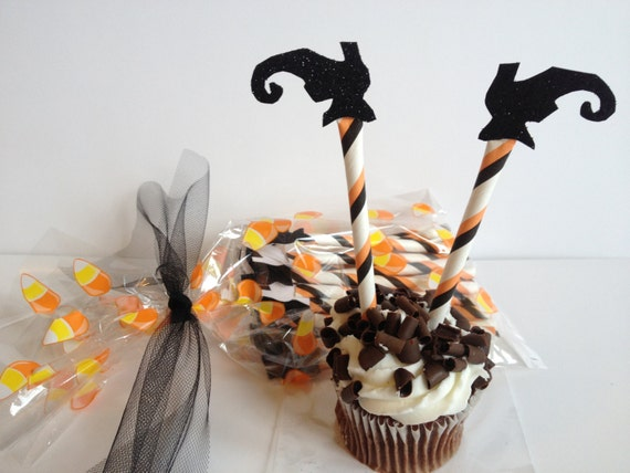 Halloween Cupcake Topper Glitter Witch Leg set of 12 Old Fashioned  Modern Charm Vintage Retro Fun Paper Straws Holidays Handmade Decoration