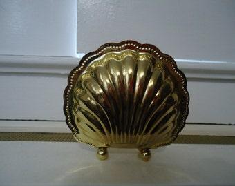 Vintage 1980's Gold Metal Seashell Shaped Decorative Napkin Holder