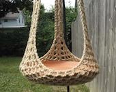 Plant Hanger/Bird Feeder Indoor Outdoor Crochet - Jute or Any Color Of Your Choosing