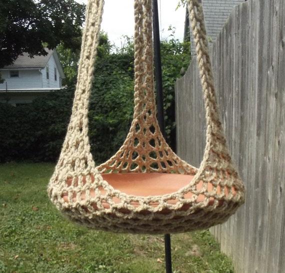 plant hanger bird feeder indoor outdoor crochet jute or any. Black Bedroom Furniture Sets. Home Design Ideas