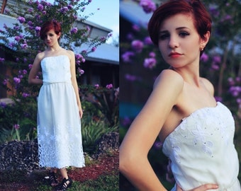 Vintage 60s Wedding Dress Cream Strapless Lace