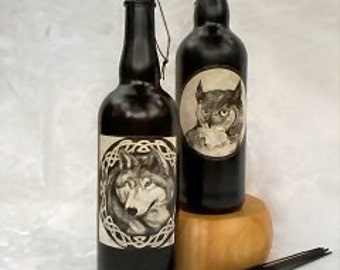 Wine Bottle Incense Burner Wolf or Owl, Wolf Ash Catcher, Owl Ash Catcher, Pagan Wiccan Celtic Smoking Bottle, Totem Incense Holder