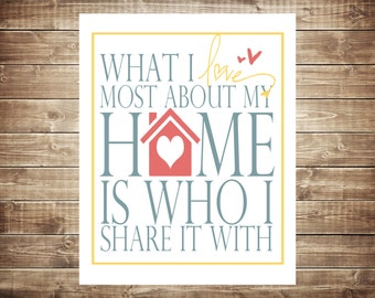 What I love most about my home... Typography Art, 8x10