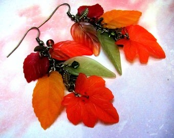 Lucite Fall Leaf Earrings - Lucite Earrings, Leaf Earrings, Swarovski Earrings, Dangle Earrings, Autumn Earrings, Lucite Leaf Earrings