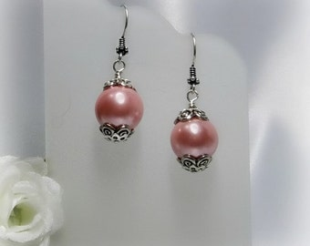 Pink Pearl and Silver Earrings