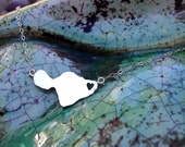 Maui, Maui Jewelry, Heart In Hana, Maui Necklace, Sterling Silver Hawaiian Island handmade by Sparrow Seas