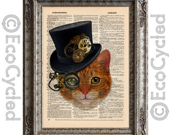 Cat with Steampunk Hat 1 on Vintage Upcycled Dictionary Art Print Book Art Print Recycled Sir Seymour Amazing Animalia bookworm gift