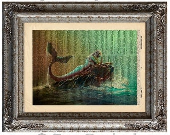 Mermaid 4 on Vintage Upcycled Dictionary Art Print Book Art Print Sea Mythical Creature Recycled Repurposed