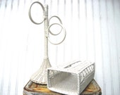 Vintage towel holder tissue box cover wicker rattan  bathroom cottage decorshabby decor
