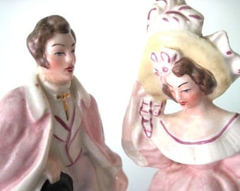 Romantic man and woman figurines- Mr. Darcy and elizabeth style vintage