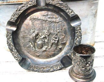 Antique matchstick holder and ashtray Silver plate repousse Dutch dimensional pub scene