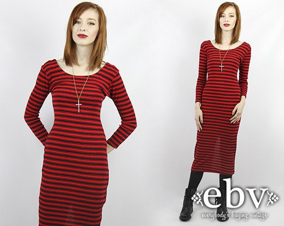 Vintage 90s Red and Black Striped Midi Bandage Dress XS S