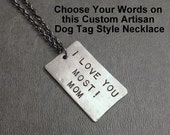 CUSTOM Personalized Modern Dog Tag Style Necklace - Your Words Nickel Silver Pendant - Gunmetal or Stainless Ball Chain - Unisex Dog Tag