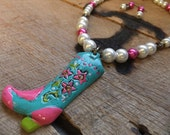 Cowgirl Bling White and Pink  Blue Fancy Boots Jewelry Set