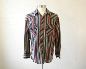 Fresh from Montana Men's Large Western Shirt with Pearl Snaps / Rockabilly Striped Cowboy Shirt / Hipster Clothing for Men / Gifts for Men