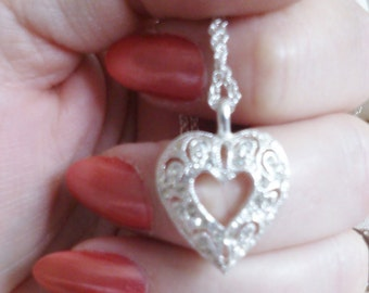 REDUCED  Double Heart Necklace with Rhinestones