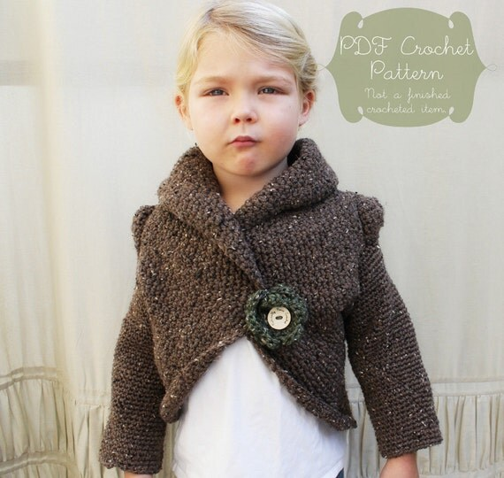 Crochet Pattern: The Rowan Sweater Child Sm Med Lg and