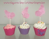Butterfly Cupcake Wrappers & Toppers